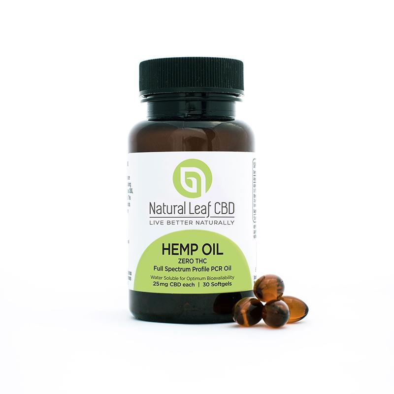 Natural Leaf CBD Hemp Oil water soluble soft gels