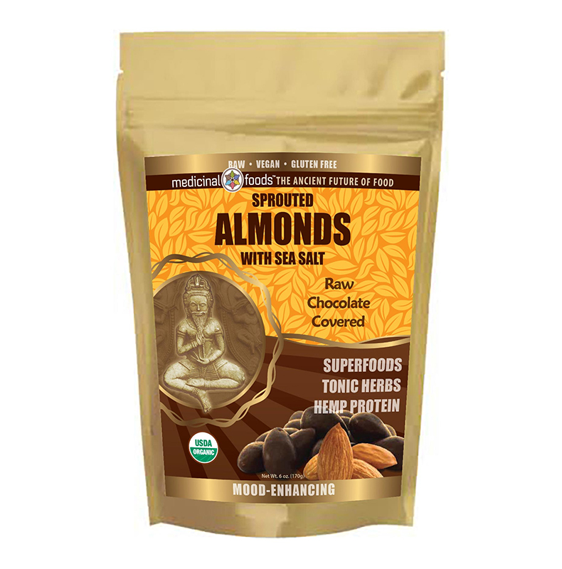 Sprouted almonds with sea salt raw chocolate covered superfoods tonic herbs hemp protein