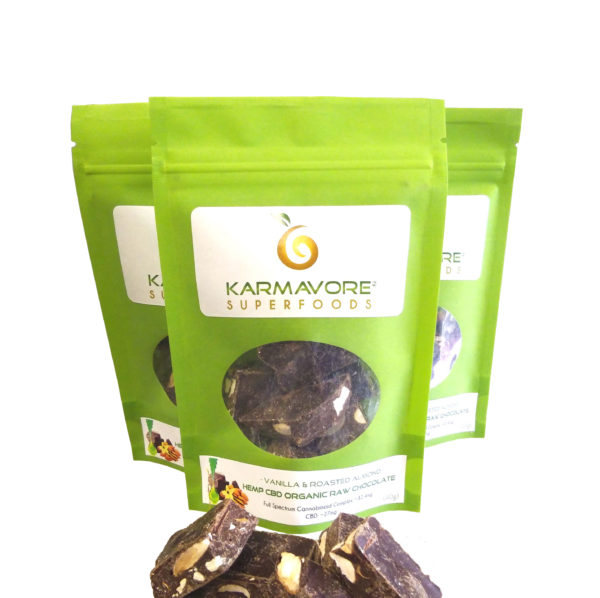 Karmavore Superfoods Vanilla and Roasted Almonds hemp cod organic raw chocolate