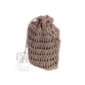 Hemptique hemp soap saver drawstring brown bag